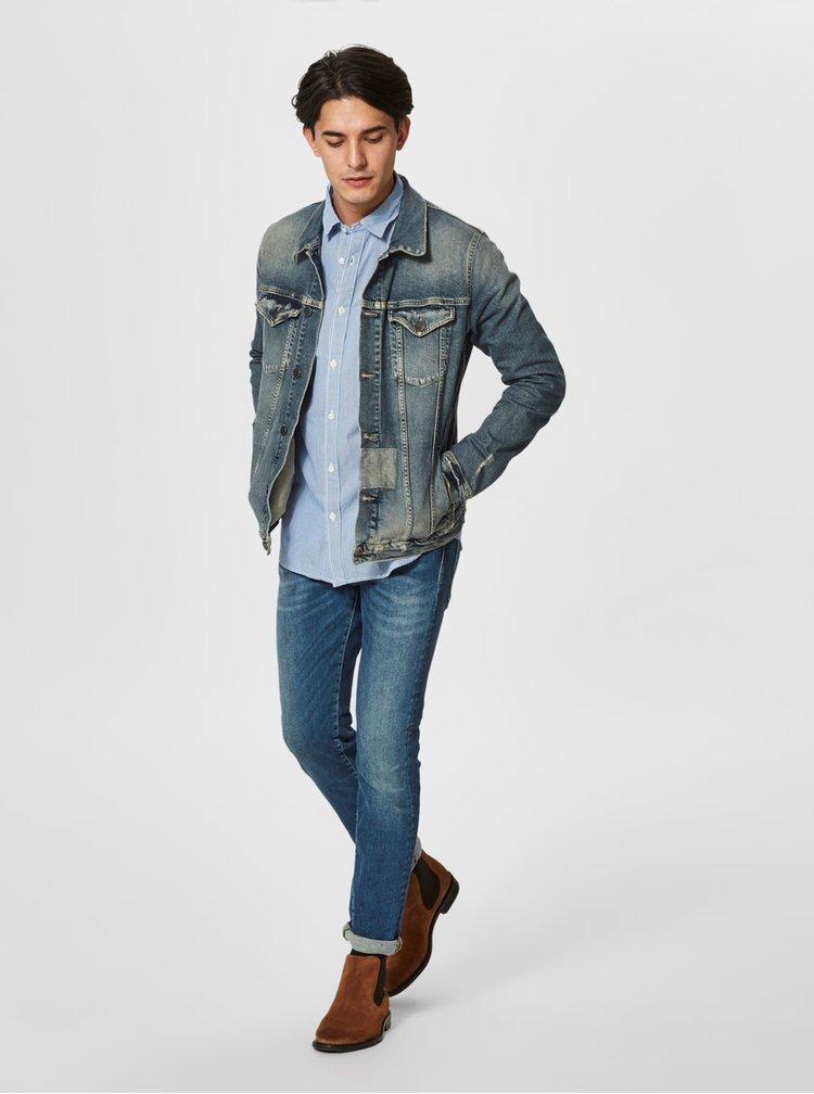 Světle modrá kostkovaná formální slim fit košile Selected Homme