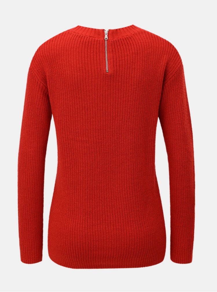 Červený sveter so zipsom na chrbte Dorothy Perkins