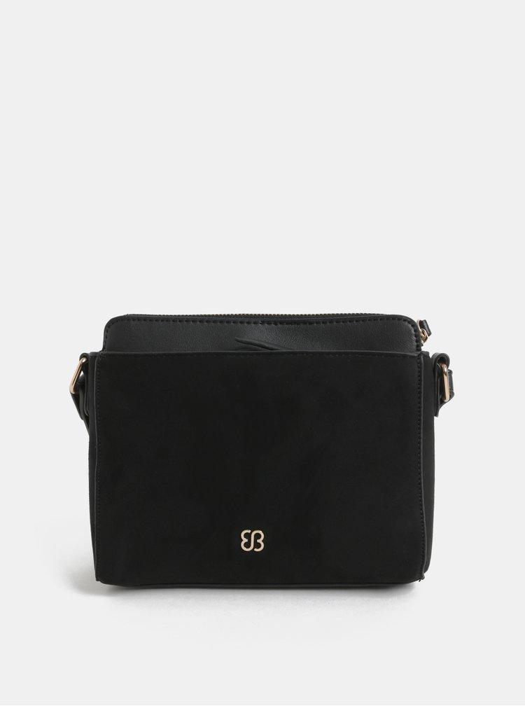 Černá crossbody kabelka s výšivkou a detaily v semišové úpravě Bessie London