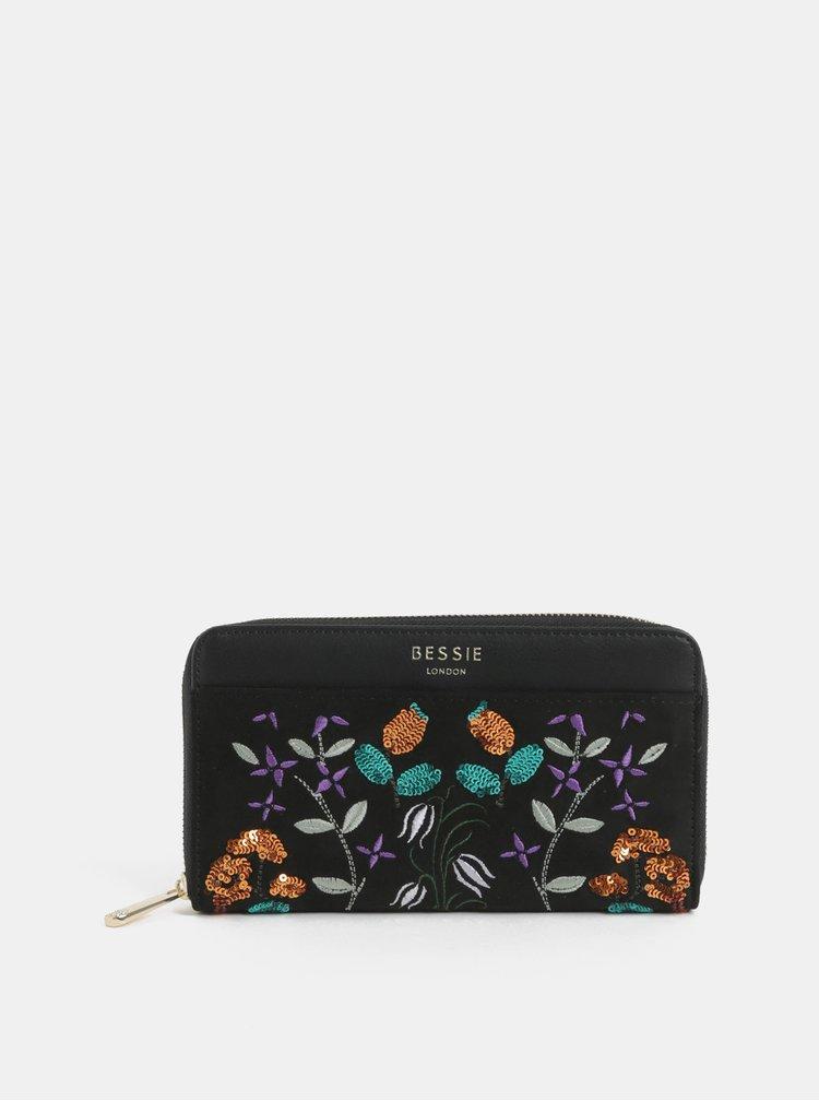 Černá velká peněženka s výšivkou a detailem v semišové úpravě Bessie London