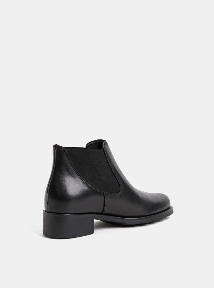 Černé kožené chelsea boty OJJU