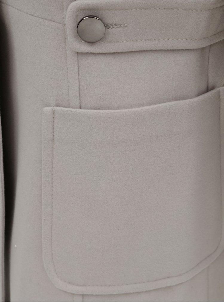 Svetlosivý kabát s odnímateľným golierom z umelej kožušinky Dorothy Perkins