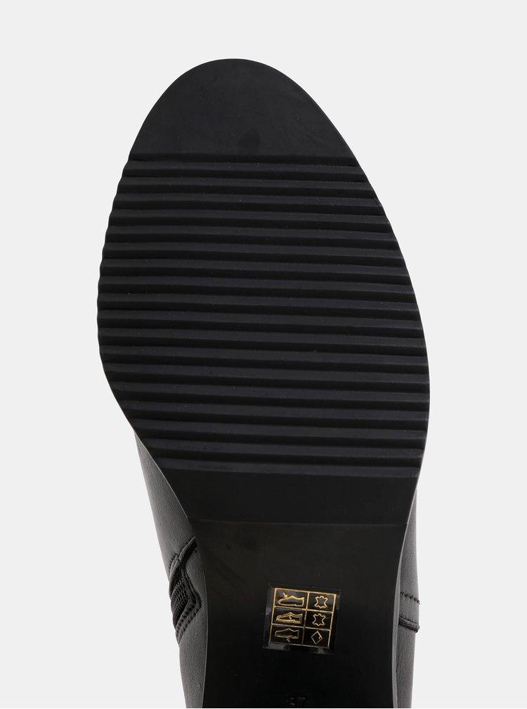 Černé kožené kotníkové boty na podpatku OJJU
