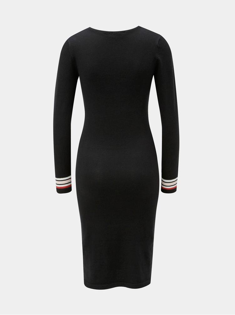 Černé svetrové pouzdrové šaty Dorothy Perkins