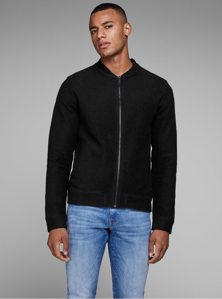 Bluza sport neagra cu fermoar Jack & Jones William