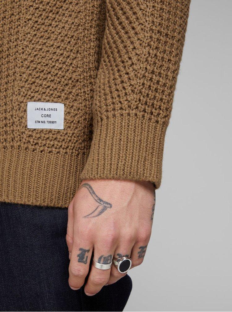 Hnedý pletený sveter Jack & Jones Stanford