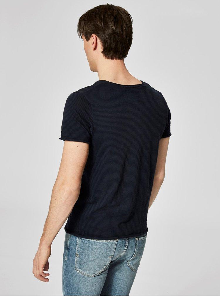 Tmavě modré pruhované basic tričko Selected Homme New merce