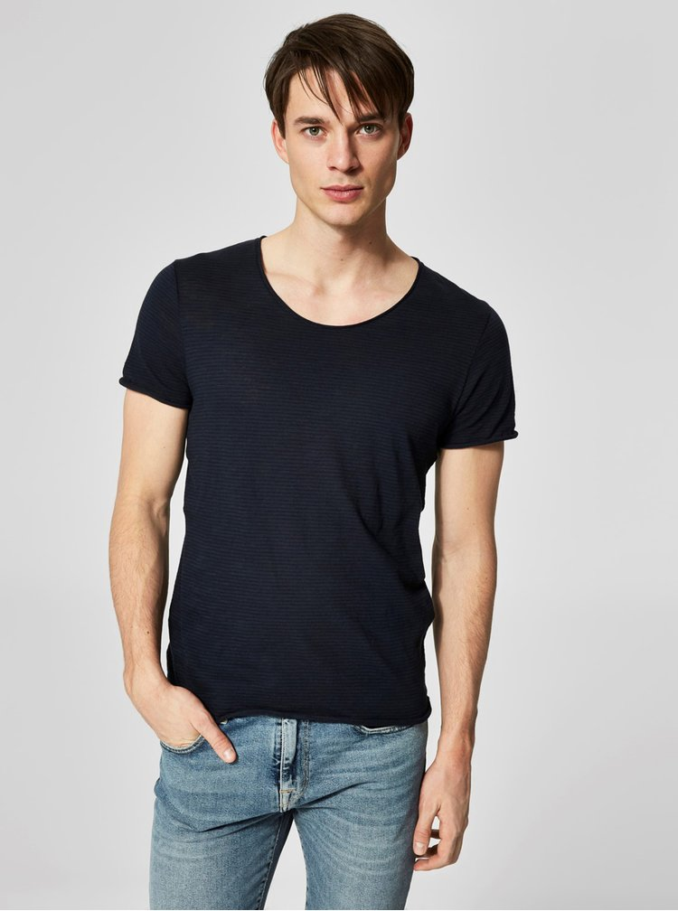 Tricou albastru inchis in dungi Selected Homme New merce
