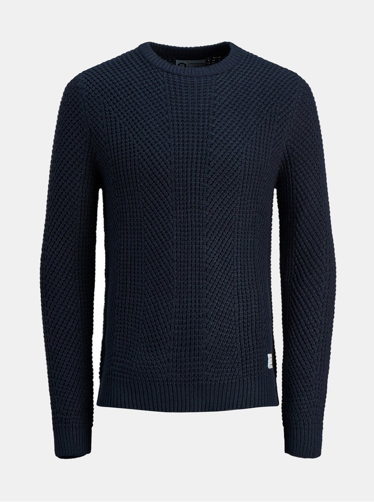 Tmavě modrý pletený svetr Jack & Jones Stanford