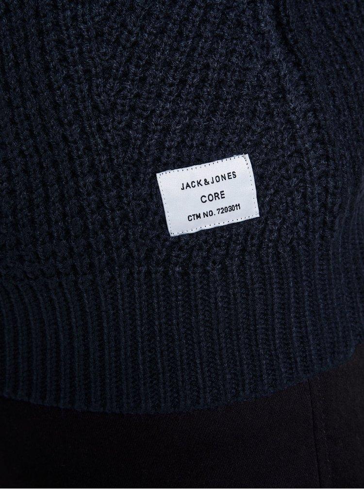 Pulover albastru inchis impletit Jack & Jones Stanford