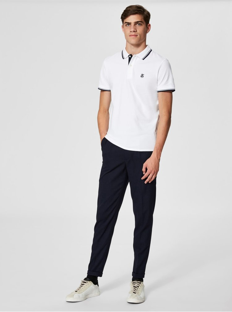 Tricou polo alb cu broderie - Selected Homme Newseason