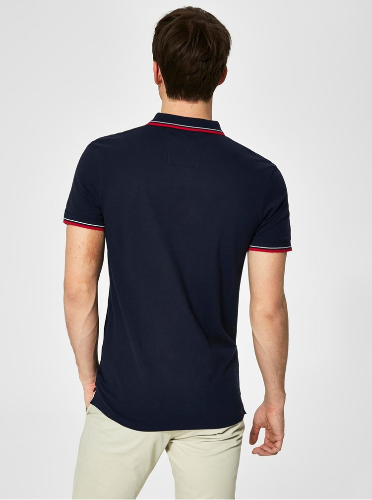 Tmavě modré polo tričko s výšivkou Selected Homme Newseason