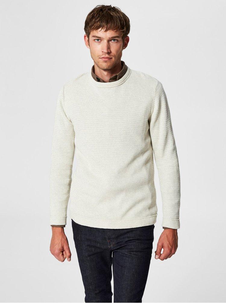Krémový basic svetr s kulatým výstřihem Selected Homme Victor