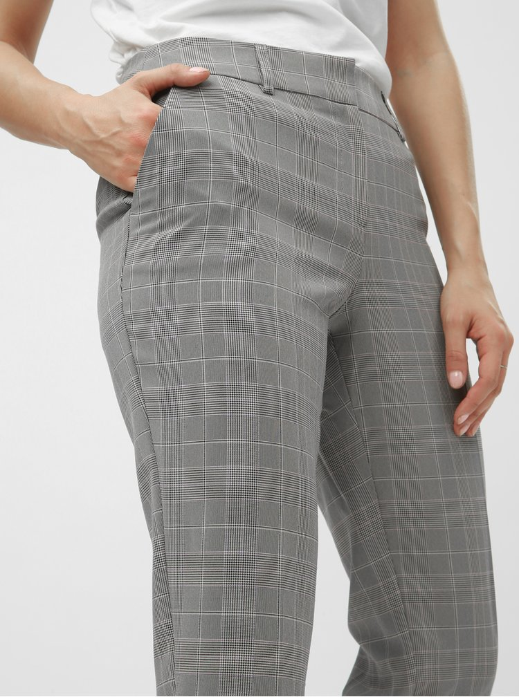 Pantaloni chino gri in carouri pana la glezne cu talie inalta Dorothy Perkins