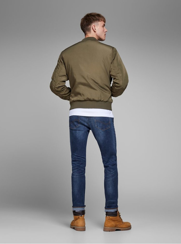 Tmavomodré slim fit rifle Jack & Jones Tim