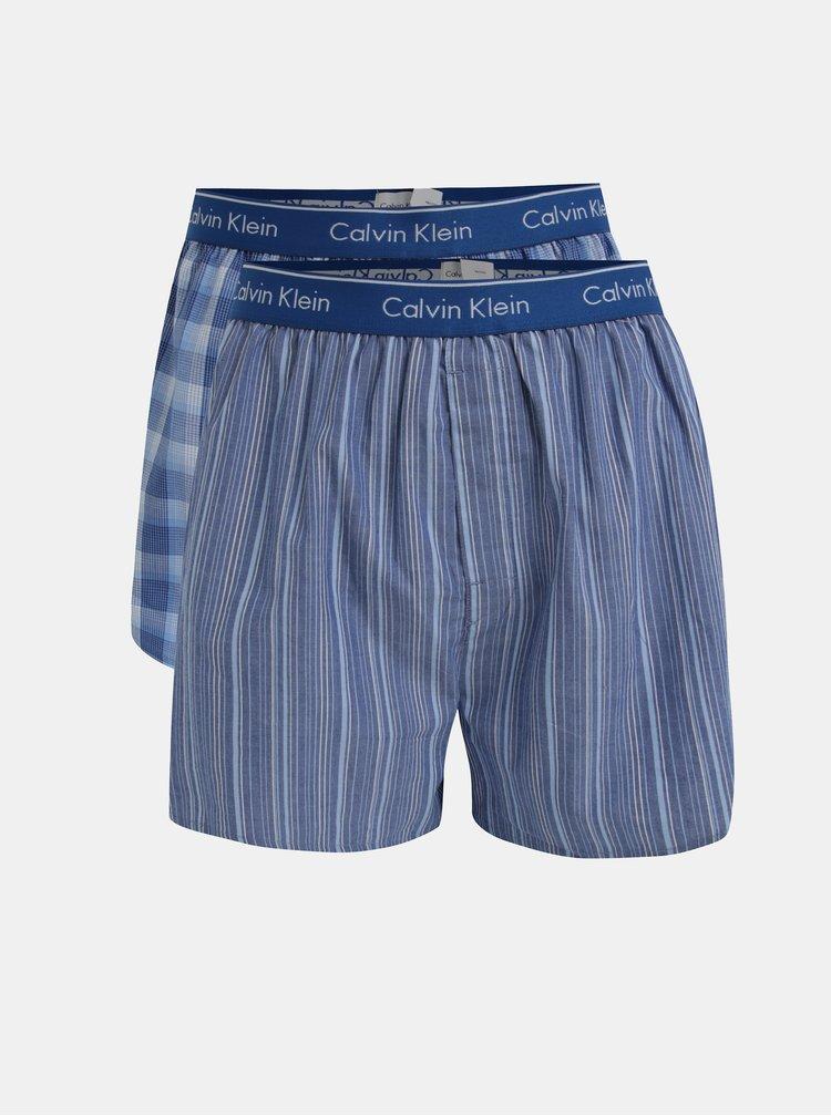 Set de 2 perechi de boxeri albastri cu print si logo - Calvin Klein Underwear