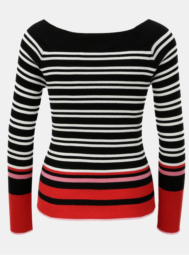 Bielo–čierny pruhovaný tenký sveter s lodičkovým výstrihom Dorothy Perkins