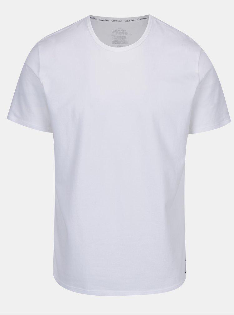 Sada dvou pánských bílých slim fit basic triček pod košili Calvin Klein Underwear