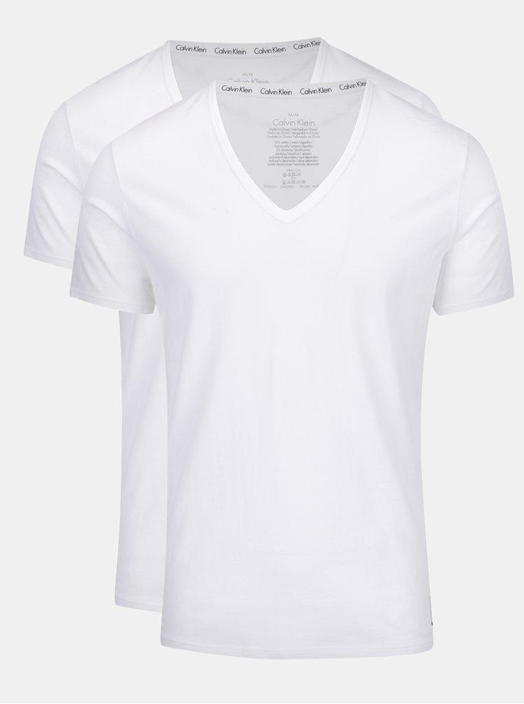 Súprava dvoch tričiek pod košeľu v bielej farbe Calvin Klein Underwear