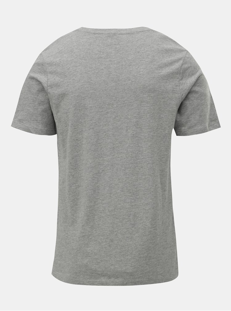 Šedé žíhané tričko s potiskem Jack & Jones Rejistood