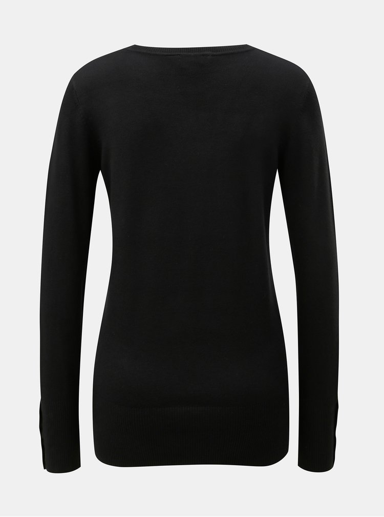 Černý svetr s knoflíky na rukávech Dorothy Perkins Tall