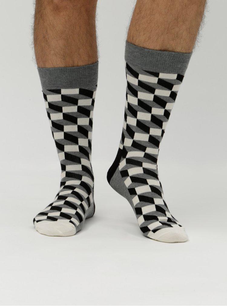 Sosete alb, negru si gri Happy Socks Filled Optic