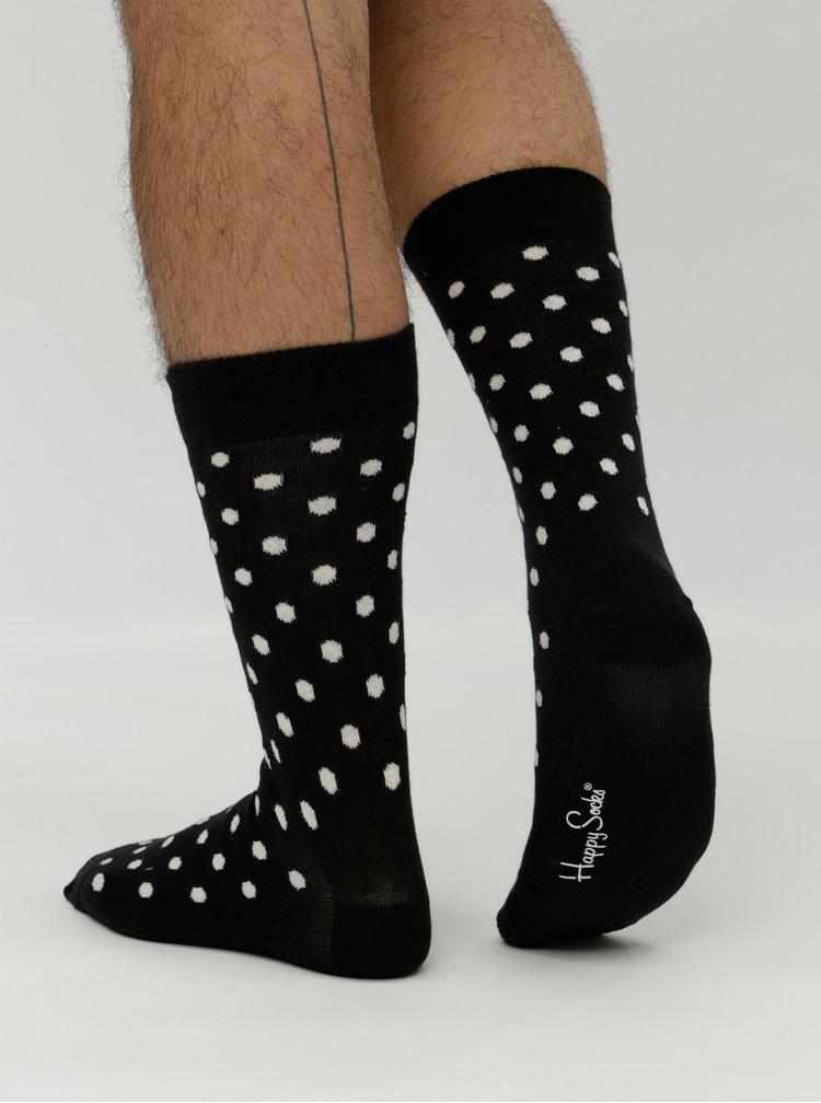 Černé unisex ponožky s bílými puntíky Happy Socks Dot