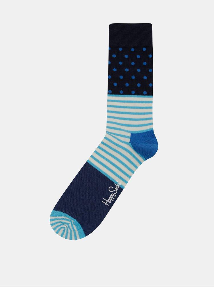 Tyrkysovo-modré vzorované ponožky Happy Socks Stripe Dot
