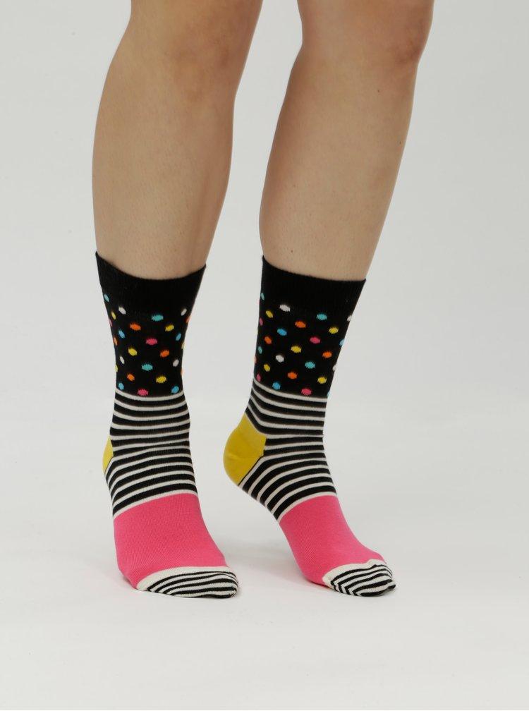Černo-růžové dámské ponožky Happy Socks Stripe Dot