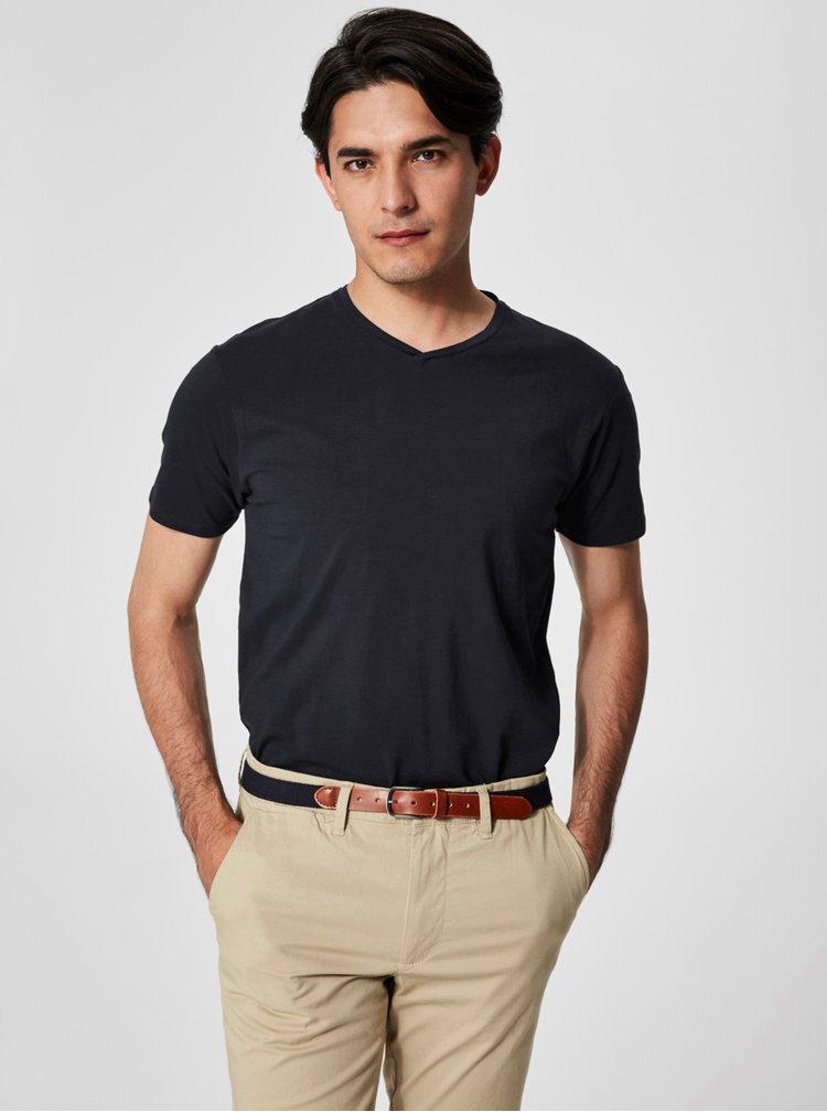Čierne basic tričko s véčkovým výstrihom Selected Pima
