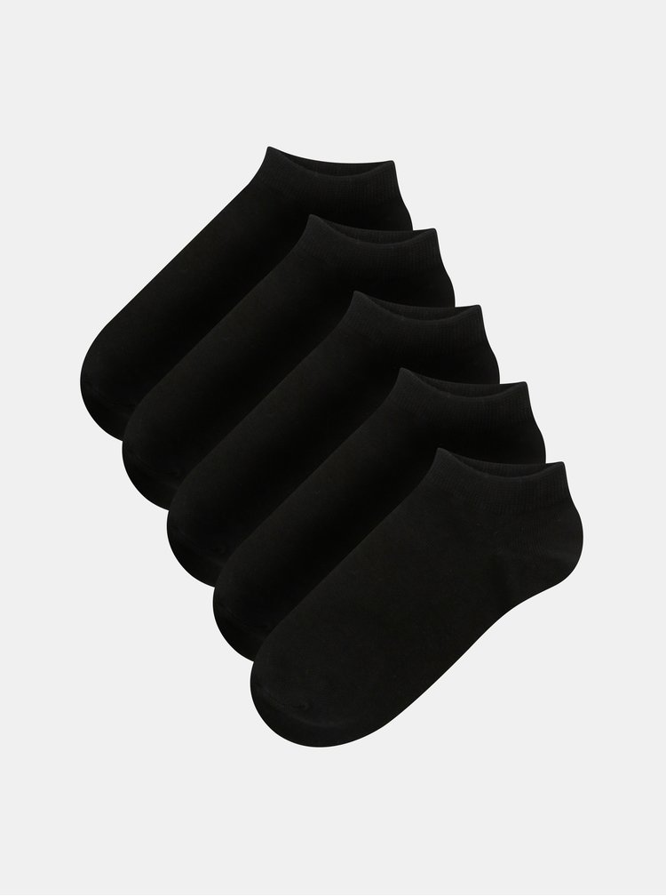 Sada pěti párů černých kotníkových ponožek Jack & Jones Dongo