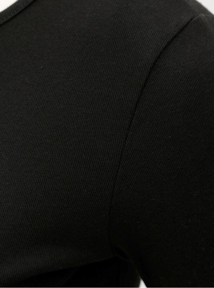 Tricou negru cu nasturi pe maneci Dorothy Perkins Petite