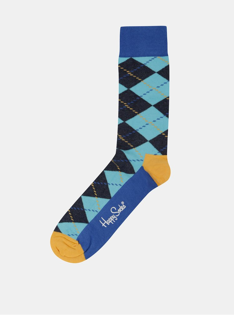 Modré pánské vzorované ponožky Happy Socks Argyle