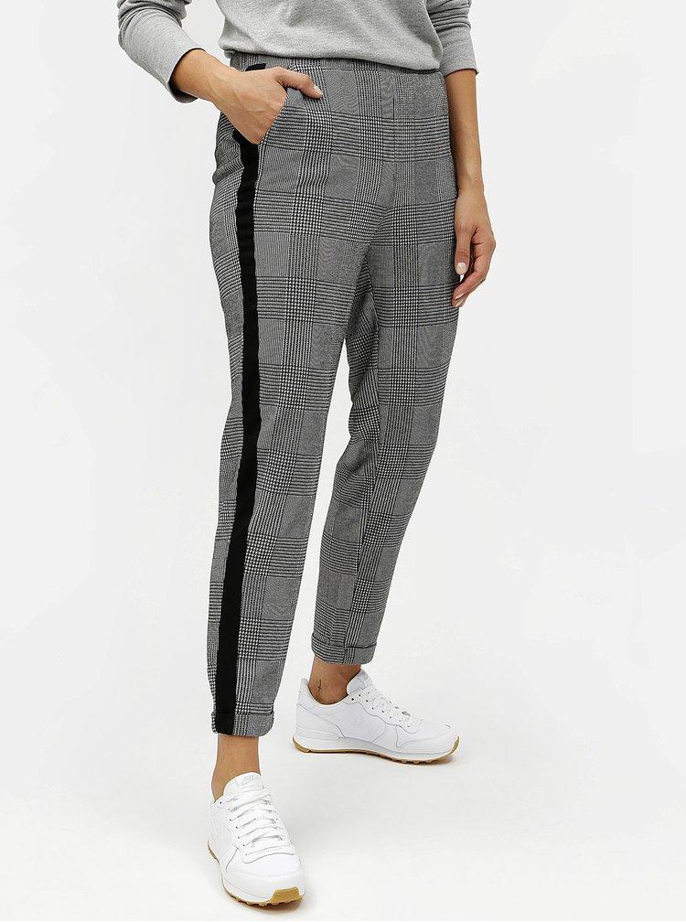 Šedé zkrácené kostkované kalhoty s pruhy ONLY Pollie