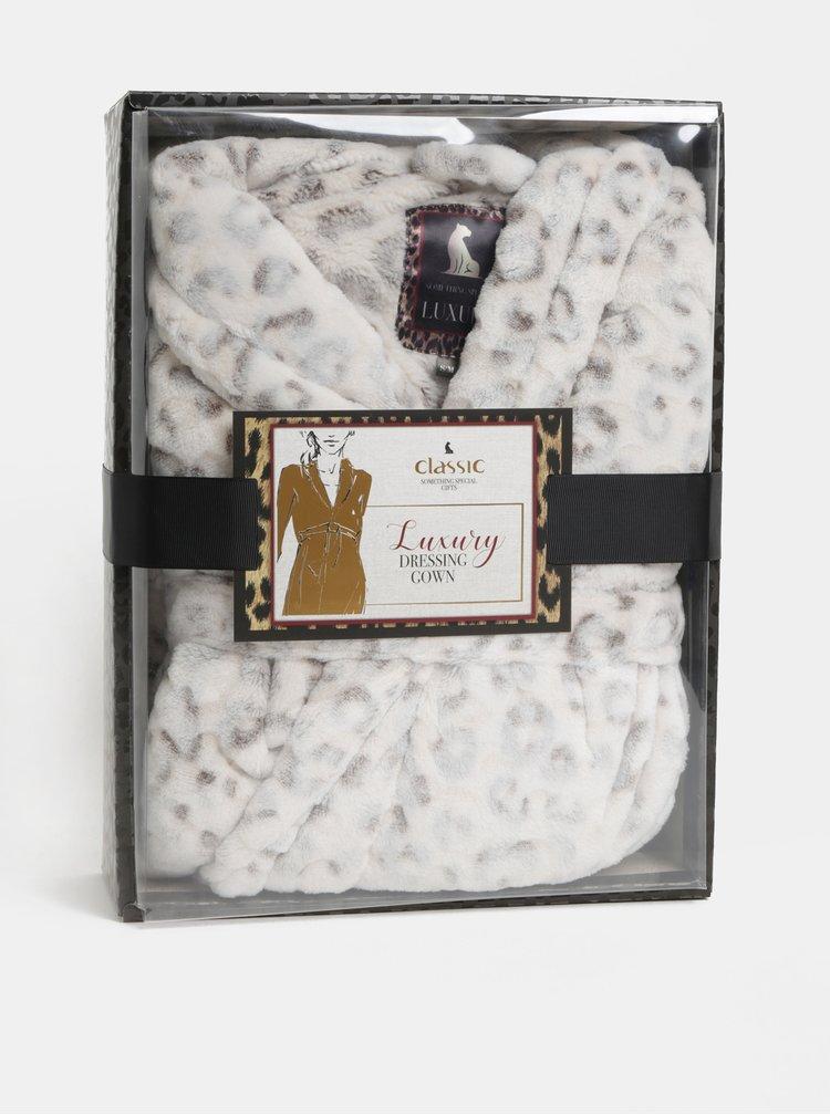 Hnědo-bílý župan s leopardím vzorem v dárkovém balení Something Special