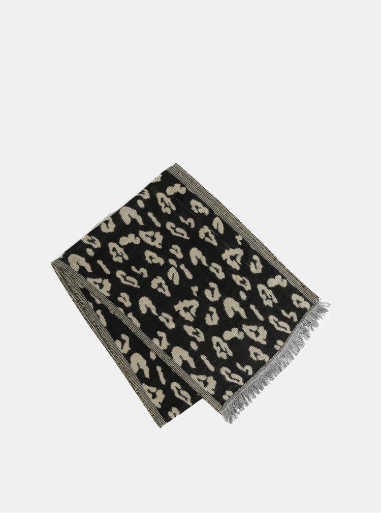 Set cadou de fular si manusi din lana negru si bej Something Special