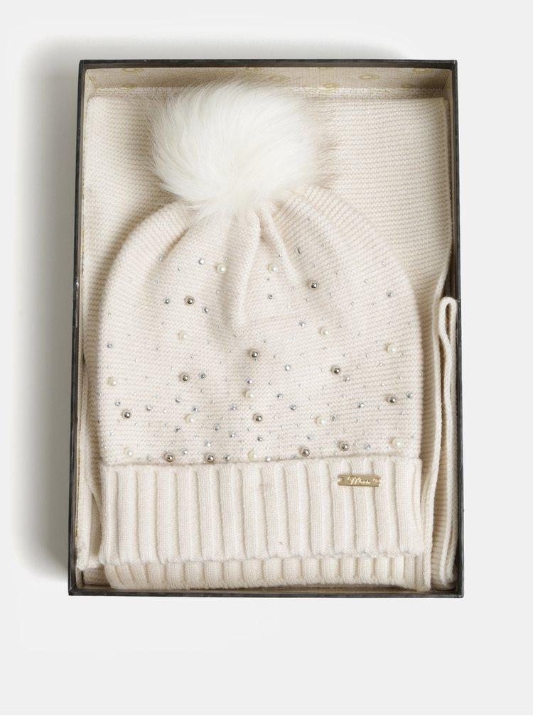 Sada čepice a šály v krémové barvě v dárkovém balení Something Special