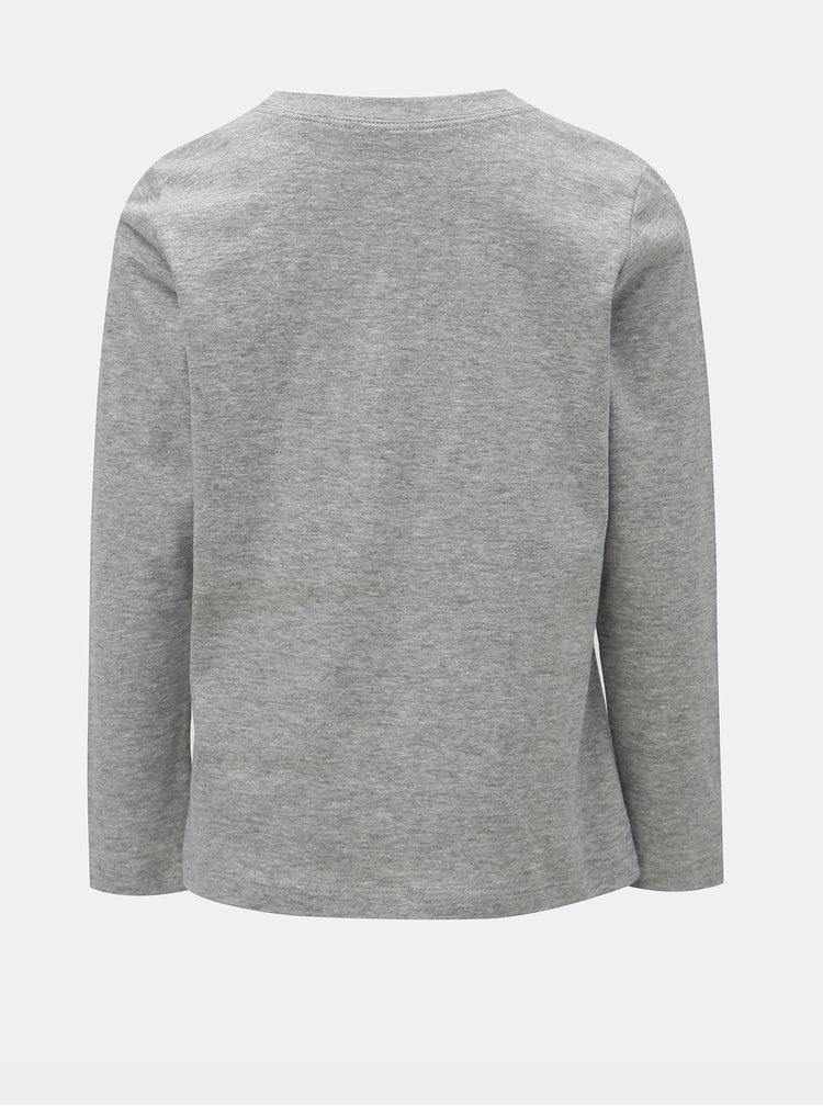 Šedé klučičí žíhané tričko s potiskem Name it