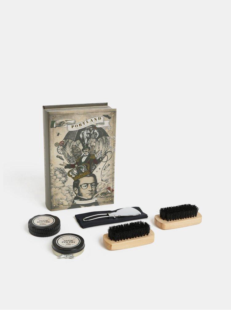 Set de crema, burete, lingura, carpa si doua pensule pentru incaltaminte in cutie de cadou Something Special