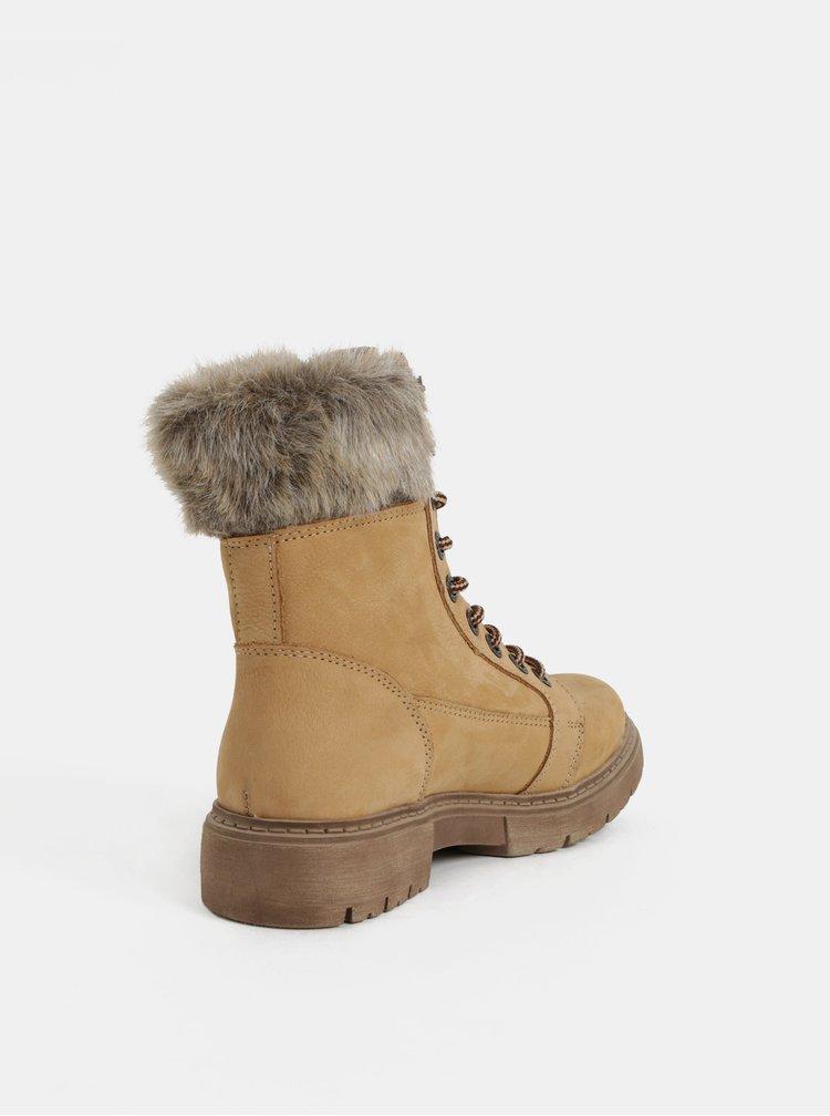 Svetlohnedé dámske zimné kožené členkové topánky Weinbrenner