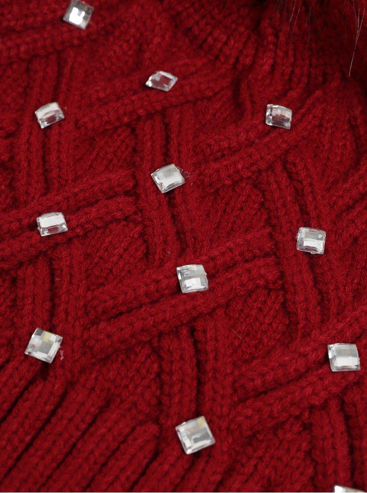 Červená čiapka s brmbolcom a ozdobnými kamienkami v darčekovom balení Something Special Diamante hat