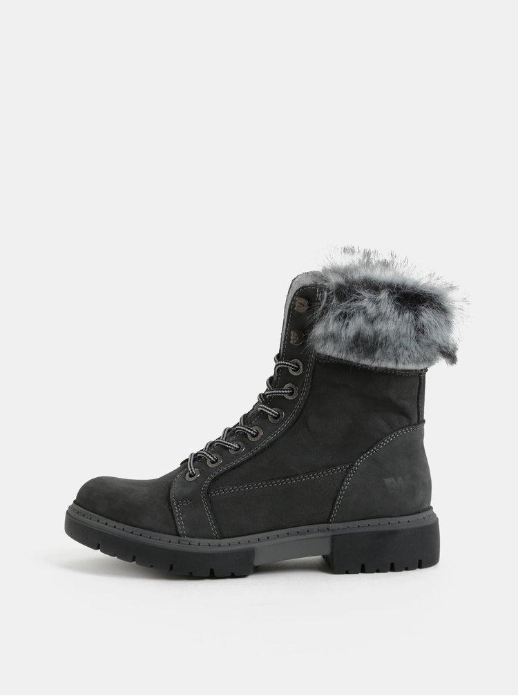 Šedé dámské kožené zimní kotníkové boty s umělým kožíškem Weinbrenner