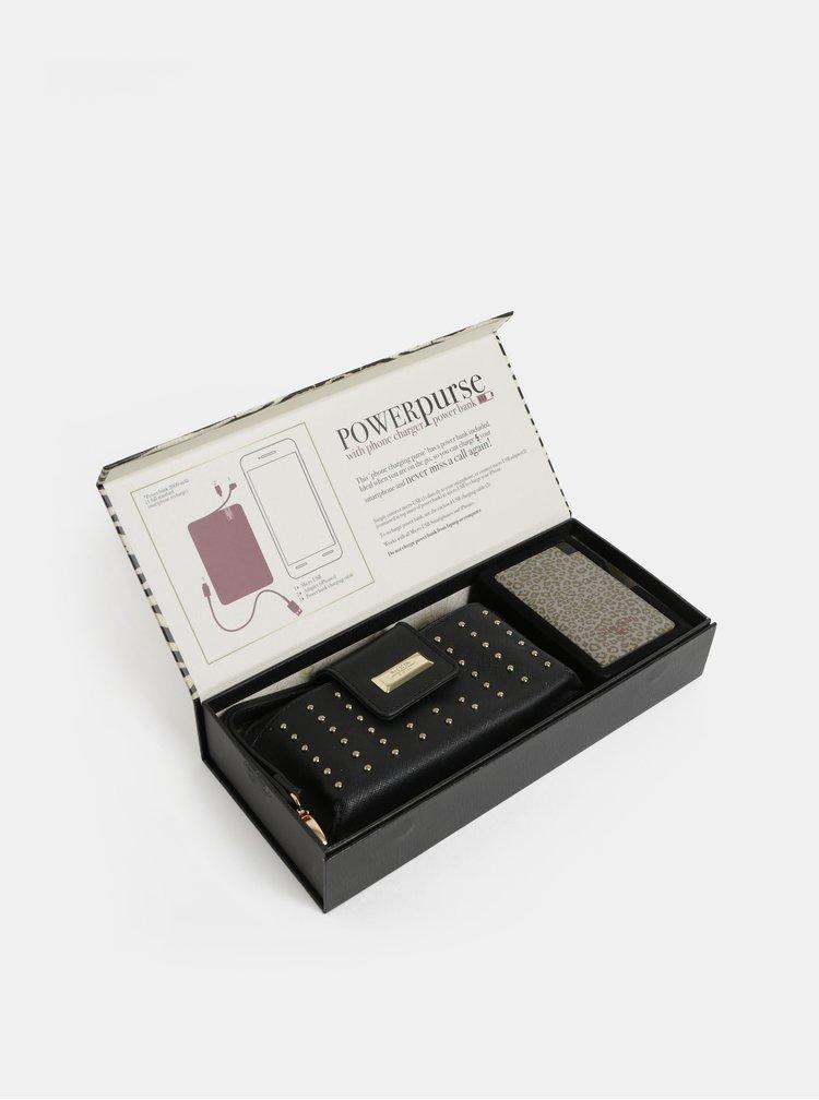Set cadou de portofel negru cu powerbank 2000 mAh Something Special