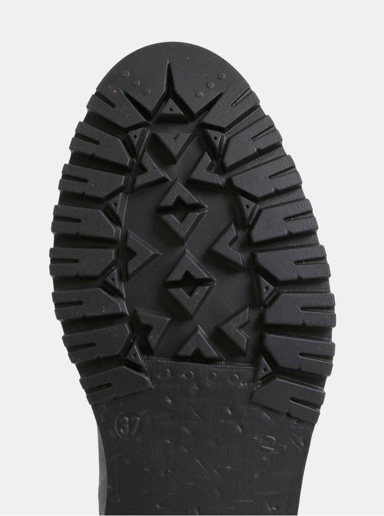 Ghete negru-gri de dama de iarna din piele cu detalii din piele intoarsa Weinbrenner