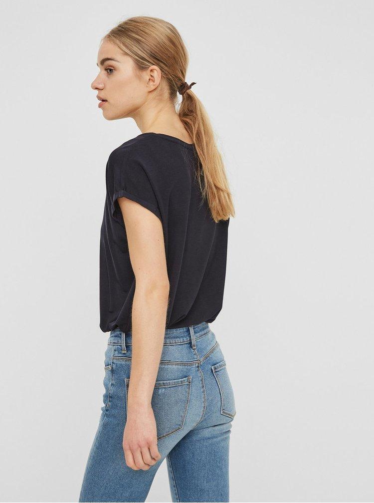 Tmavě modré basic tričko s krátkým rukávem AWARE by VERO MODA Ava