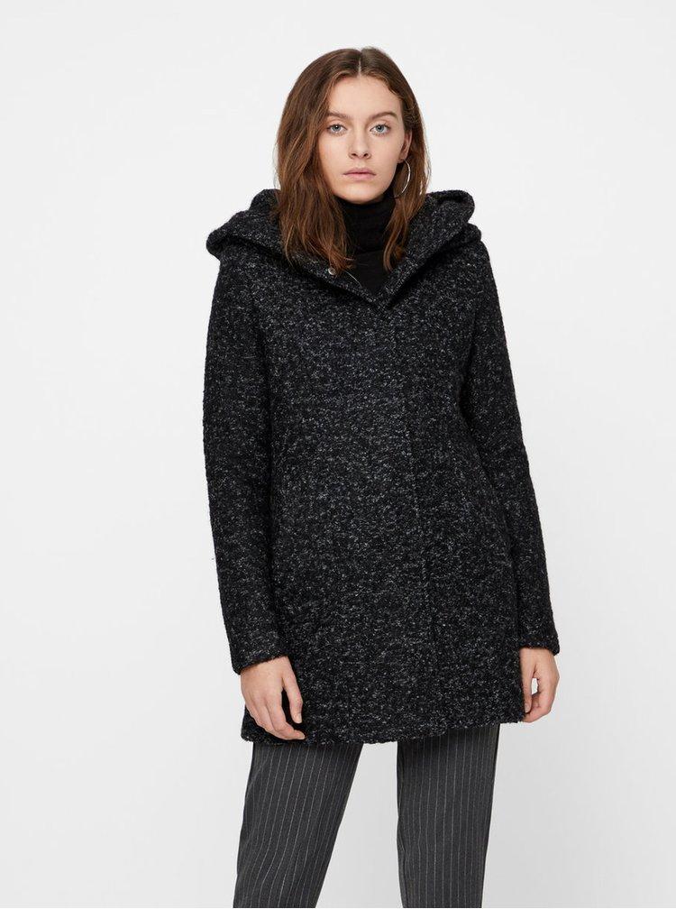 Černý žíhaný kabát s příměsí vlny VERO MODA Verodona