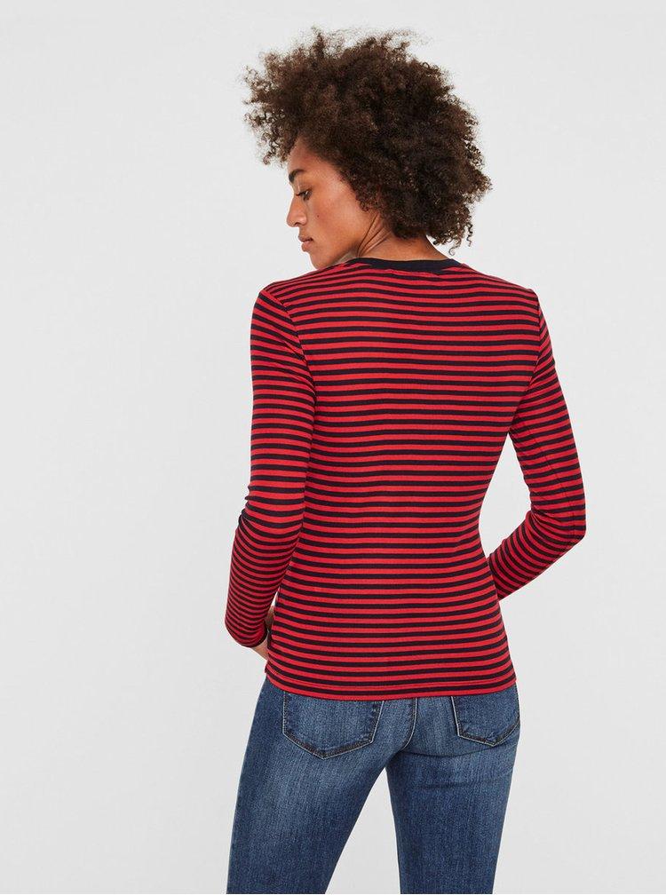 Modro-červené pruhované basic tričko VERO MODA Ita