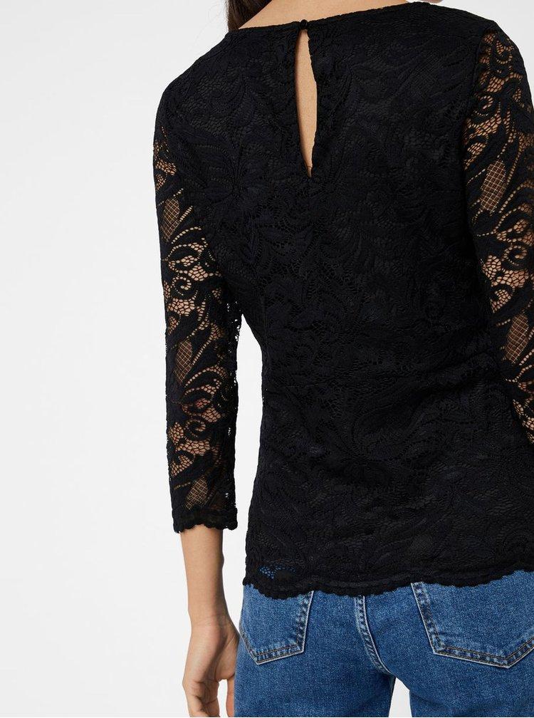 Tricou negru din dantela cu decupaj la spate VERO MODA Sandra
