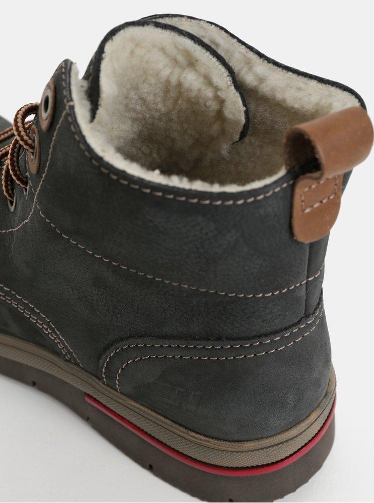 Tmavosivé dámske kožené členkové zimné topánky s umelou vnútornou kožušinkou Weinbrenner