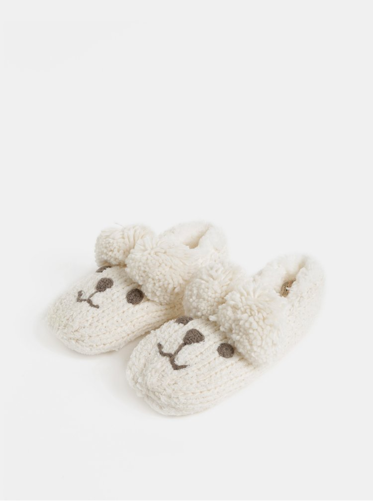 Krémové pletené papuče ve tvaru myši v dárkovém balení Something Special